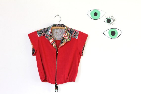 90s red printed crop top, tribal