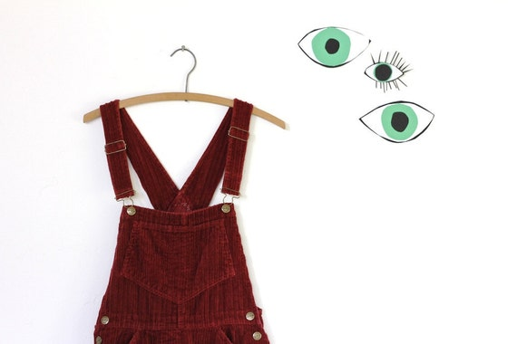 90s grunge wine colored THICK corduroy overalls