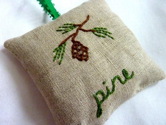 Hand Embroidered Pine Sachet