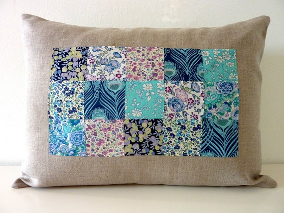 Blueberry Liberty of London Patchwork Pillow on Natural Linen. 12x16