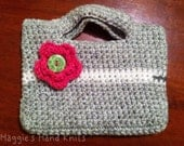 Small Green Crocheted Purse with Pink Button Flower