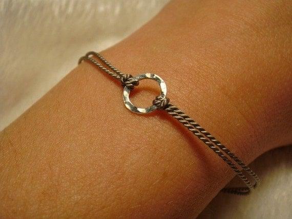 SALE!!!  Mini Karma - Sterling Silver on Silk Cord