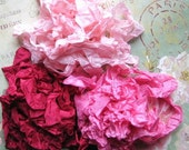 Blooming Rose  Hand Crinkled Seam Binding Rayon Ribbon 15 yards noE822 SALE