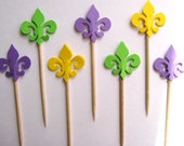 24 Mardi Gras Fleur de Lis Party Picks - Cupcake Toppers - Toothpicks - Food Picks - FP102