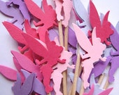 24 Pink - Purple Tinkerbell Party Picks - Cupcake Toppers - Toothpicks - Food Picks -  FP184