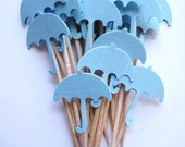 24 Baby Boy Blue Umbrella Party Picks - Cupcake Toppers - Toothpicks - Food Picks - die cut punch FP188