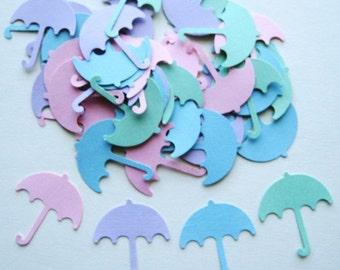 50 Pastel Umbrella punch die cut embellishments E124