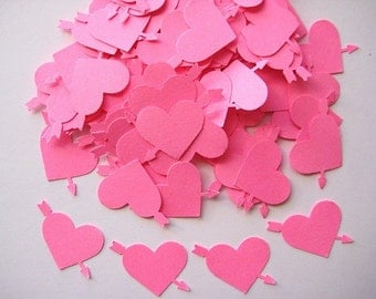 100  Pink Hearts with Arrows punch die cut embellishments E402