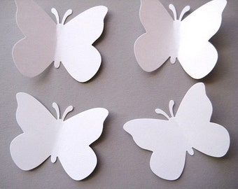 40 Large Wedding White Butterfly punch die cut embellishments E413