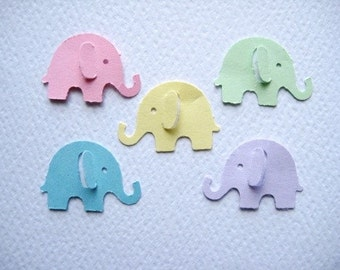 100 Pastel Elephant punch die cut embellishments E148