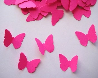 100 Hot Pink Butterfly punch die cut embellishments E424