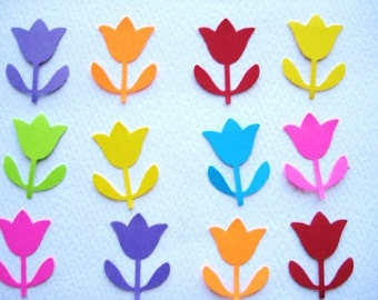 100 Bright Tulip punch die cut embellishments E276