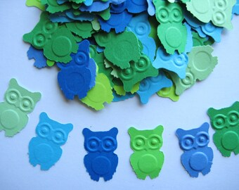 100 Blue Green Owl punch die cut embellishments E562