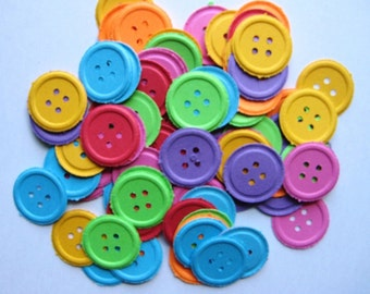 100 Embossed Bright Buttons punch die cut embellishments  E738