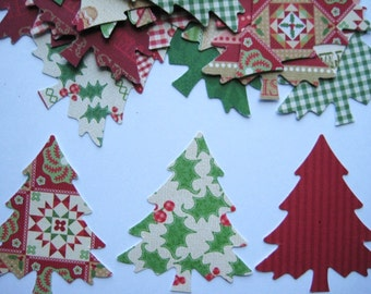 30 Large  Evergreen Christmas Tree punch die cut embellishments E1048