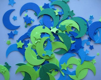 50  Blue Green Moon Stars punch die cut embellishments E1054
