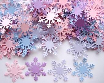 50 Pale Pink Lavender Blue Arctic Snowflake punch die cut scrapbook confetti embellishments E1127