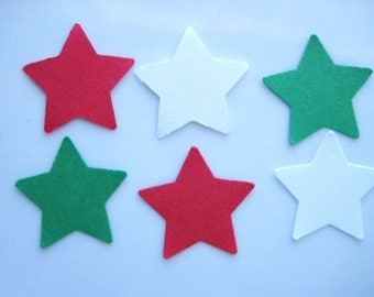 100 Red White Green Christmas Star punch die cut embellishments E1182