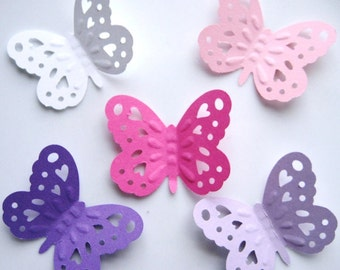 40 Silhouette Heart Embossed Large Purple Pink Butterfly punch die cut embellishments E1203