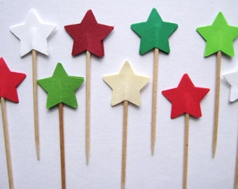 24 Christmas Star Party Picks - Cupcake Toppers - Toothpicks - Food Picks - die cut punch FP106