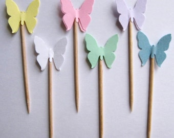 24 Pastel Royal Butterfly Party Picks - Cupcake Toppers - Toothpicks - Food Picks -  FP116