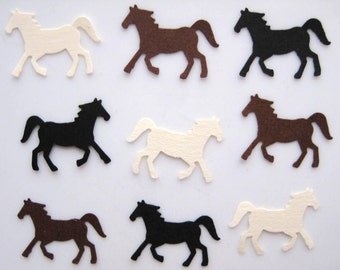 100 Black Brown Cream Horse punch die cut scrapbooking confetti embellishments E1257