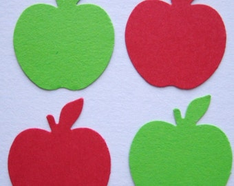 100 Red Green Apple punch die cut confetti scrapbooking embellishments noE1279