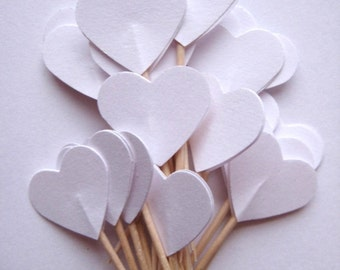 24 Wedding White Heart Party Picks - Cupcake Toppers - Toothpicks - Food Picks  FP139
