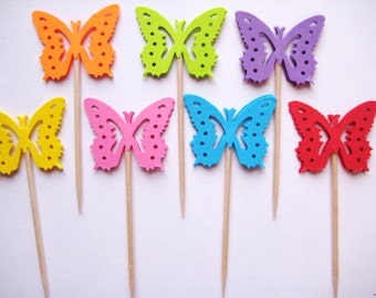 24 Bright Monarch Butterfly Party Picks - Cupcake Toppers - Toothpicks - Food Picks - FP178