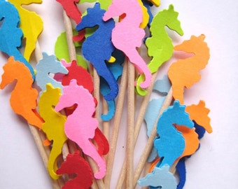 24 Seahorse Party Picks - Cupcake Toppers - Toothpicks - Food Picks - FP180