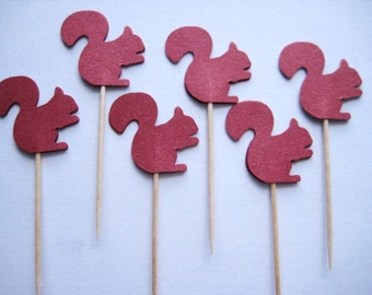 24 Pearlized Scarlet Squirrel Party Picks - Cupcake Toppers - Toothpicks - Food Picks -  FP193