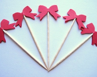 24 Red Bow Party Picks - Cupcake Toppers - Toothpicks - Food Picks -  FP244