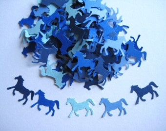 100 Blue Horse punch die cut scrapbooking confetti embellishments E1406