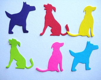 36 Large Bright Dogs punch die cut scrapbooking embellishments E1432