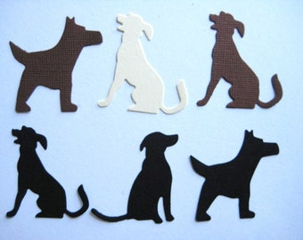 18 Large Brown Cream & Black Dogs punch die cut scrapbooking embellishments E1408