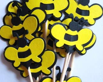 12 Bumble Bees Party Picks - Cupcake Toppers - Toothpicks - Food Picks - FP280