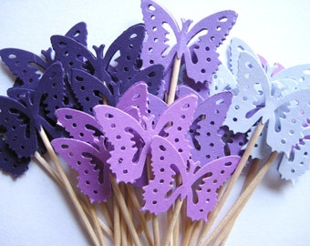 24 Mixed Purple Monarch Butterfly Party Picks - Cupcake Toppers - Toothpicks - Food Picks -  FP288