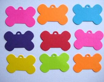16 Bright Dog Bone Tags punch die cut scrapbooking embellishments E1431