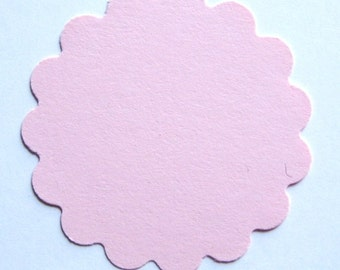 "25 Light Pink 2"" scalloped round Tags journal gift party favor scrapbooking E1438"