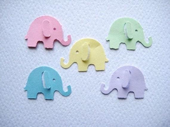100 Pastel Elephant punch die cut embellishments E148