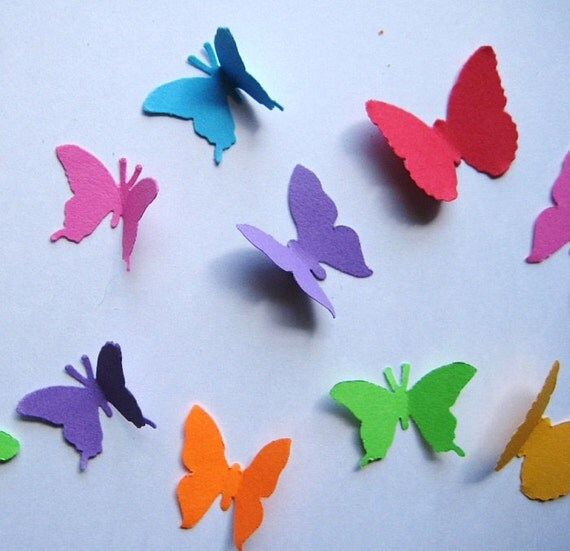 100 Bright Mixed Butterfly Shapes punch die cut embellishments E740