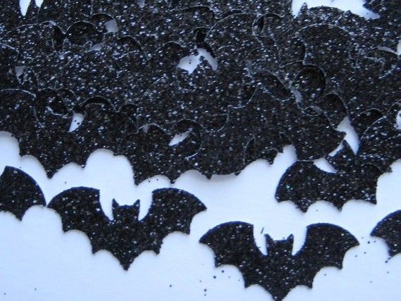 100 Halloween Black Glittered  Bat punch die cut embellishments E1027