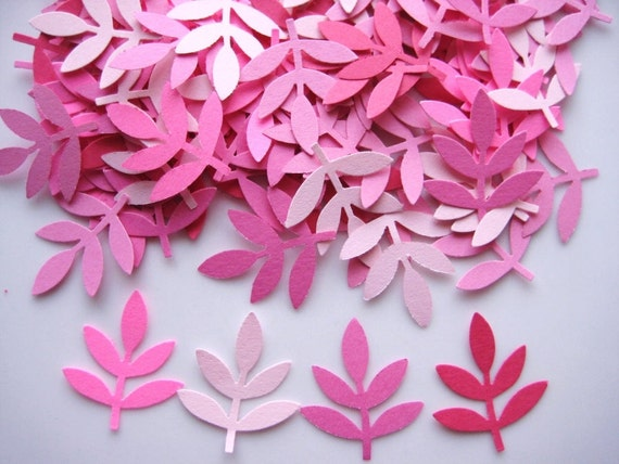 100 Mixed Pink Fern Leaf Frond punch die cut embellishments noE1123