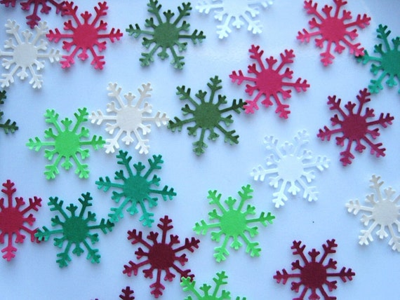 50 Christmas Red Green White Cream Arctic Snowflake punch die cut embellishments E1189
