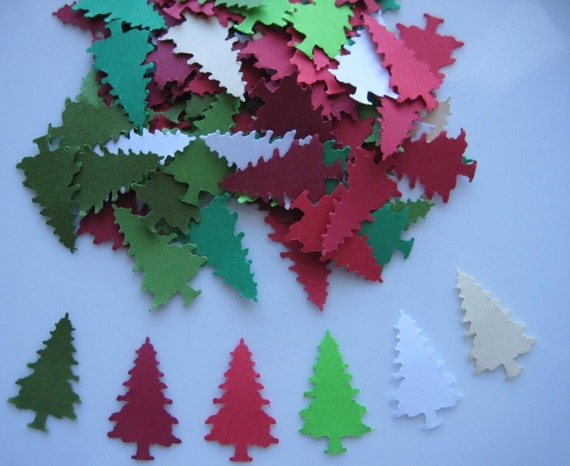 100 Christmas Red Green White Cream Evergreen Tree punch die cut embellishments E1193