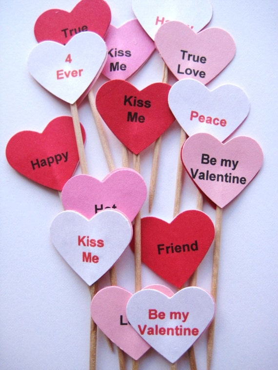 20 Valentine Party Picks - Cupcake Toppers - Toothpicks - Food Picks - die cut punch FP132