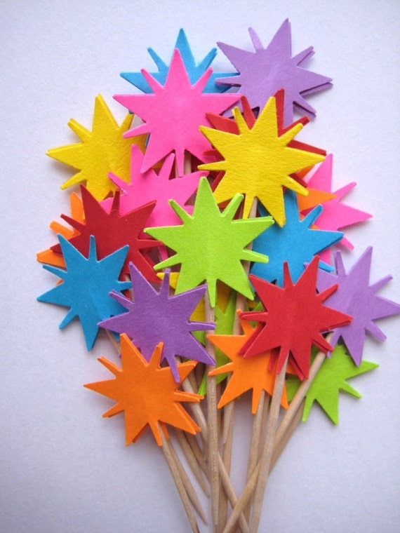 24 Bright Radiant Star Party Picks - Cupcake Toppers - Toothpicks - Food Picks - die cut punch FP140