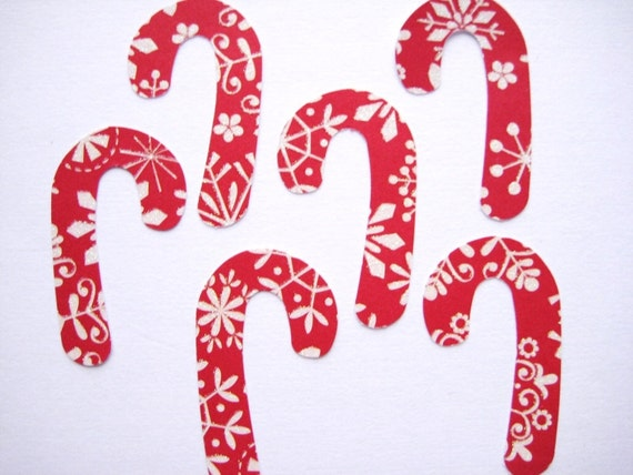 18 Red White Christmas glittered paper Candy Cane embellishments noE1299