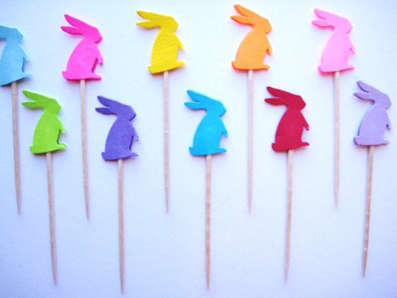 24 Bright Standing Bunny Rabbits Party Picks - Cupcake Toppers - Toothpicks - Food Picks - die cut punch FP146