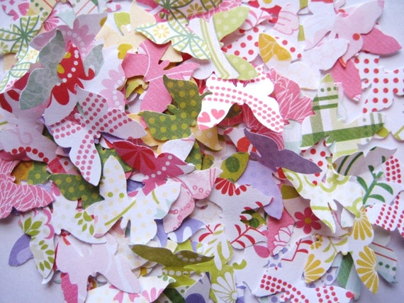100 Fresh Floral paper Royal Butterfly punch die cut embellishments noE1354